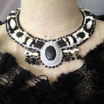 ON SALE Bead Embroidered Collar - Mother of Pearl and Onyx