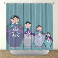 Shower Curtain Artistic Designer from DiaNoche Designs by Arist Monika Strigel Home Décor and Bathroom Ideas - Matroshka Dolls Teal