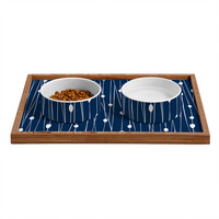 Heather Dutton Navy Entangled Pet Bowl and Tray