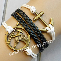 Anchor bracelet Mockingjay bracelet,Mockingjay pin bracelet,catching fire,leather bracelet hipsters jewelry,pink leahte bracelet