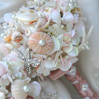 Pink Sea Shell wedding bouquet, Blush Bridal Bouquet, Bridal Brooch Bouquet.Seashell Bouquet,