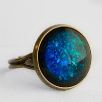 Blue & Green Mirage Holographic Ring in Antique Bronze - Color Shifting Holographic Green and Blue Cocktail Ring