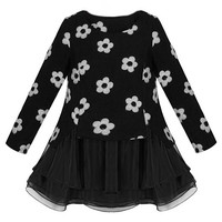 ROMWE | ROMWE Panel Fake Two-piece Daisy Print Puff Dress, The Latest Street Fashion