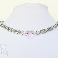 Pink Crystal Heart Chainmaille Necklace - Adjustable Crystal Necklace