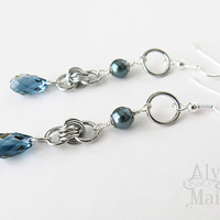 Blue Crystal and Pearl Earrings - Blue Dangle Earrings