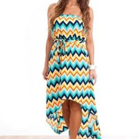 Multi Color Chevron Hi- Lo Dress