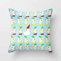 Unicorn Santa And Elves Throw Pillow by That's So Unicorny