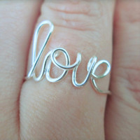 Free shipping sale - Wire love ring - Cursive word ring - Adjustable or non adjustable - Your choice of metal - Sizes 4-12 -Gift boxed