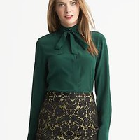 L'Wren Scott Collection Green Bow Blouse