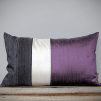 Silk Color Block Pillow (12x20) Radiant Orchid, Cream + Charcoal Gray by JillianReneDecor | Pantone 2014 | Lavender | Luxury Gift for Her