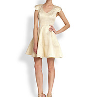 Metallic Jacquard Fit-And-Flare Dress