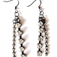 Long Rhinestone Earrings in Gunmetal