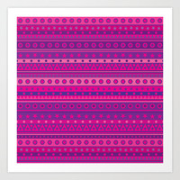 Purple and Pink Stripy Pattern Art Print by Hippy Gift Shop