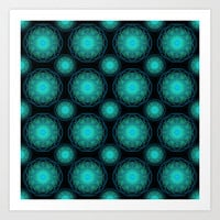 Turquoise Hippie Mandala Pattern Art Print by Hippy Gift Shop