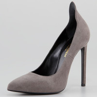 Paris Suede Peak-Back Point-Toe Pump