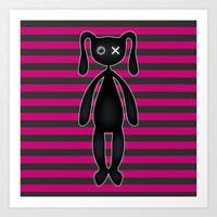 Goth Pink and Black Bunny Art Print by Hippy Gift Shop