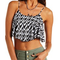 PRINTED RUFFLE CROP TOP