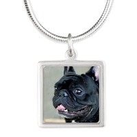 Black French Bulldog Silver Square Necklace