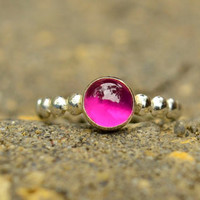 Ruby Ring in Sterling Silver, Silver Stacking Ring with Ruby Cabochon, Bridesmaids Gifts, July Birthstone