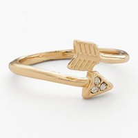 LC Lauren Conrad Gold Tone Simulated Crystal Arrow Bypass Ring