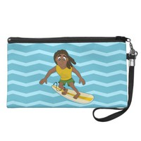 Surfing guy cartoon wristlet