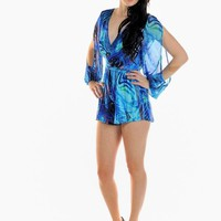 Green & Blue Print Open Sleeve Playsuit