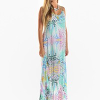 Pastel Print Maxi Dress with Criss Cross Straps