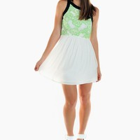 Green Floral Print & White Skater Dress with Black Trim