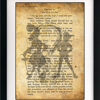 Peter Pan and Captain Hook Art Book Print - A4 or A3 Large Vintage Page Effect Wall Quote.