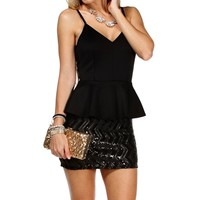 Black Scuba Peplum Sequin Dress