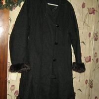 vintage 50s womens black wool swing coat with fox fur trim