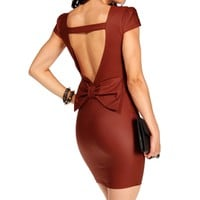 Burgundy Bow Back Sheath Dress