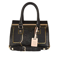 BLACK PREMIUM QUILTED PANEL MINI TOTE BAG