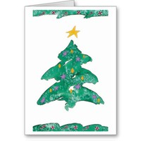 Watercolor Christmas Tree Greeting Cards