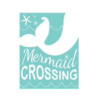 Mermaid nursery, mermaid nursery decor, little mermaid, nursery wall art, playroom, mermaid crossing, beach nursery, surf nursery