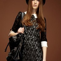 Black Lace Dress with White Collar & Cuff Detail
