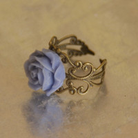 Blue Rose Flower Adjustable Antique Bronze Ring With Filigree | Luulla