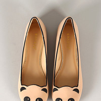 Bamboo Lula-80 Embroidered Panda Face Round Toe Loafer Flat