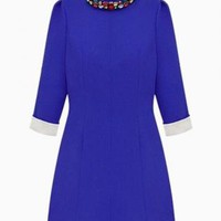 Blue Rhinestone Neckline A-Line Dress