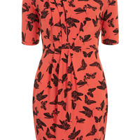 Billie and Blossom coral butterfly crepe dress