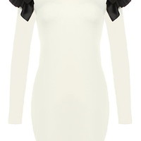 Power Shoulder Dress | White Long-Sleeve Leather Bodycon Dresses | Rickety Rack