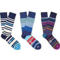 PRODUCT - Paul Smith Shoes & Accessories - Three-Pack Striped Cotton-Blend Socks - 397851 | MR PORTER
