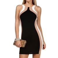 BlackTaupeIvory Colorblock Short Dress