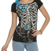 Too Fast Annabel Ribcage And Roses Girls Top