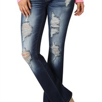 YMI Figure Enhancing Dark Wash Destructed Bootcut Jean