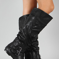 Vickie-20 Buckle Slouchy Knee High Flat Boot