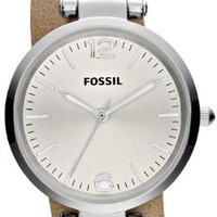 Fossil Georgia Silver Dial Sand Leather Ladies Watch ES3197