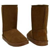 Womens Mid Calf Boots Fur Lined Pull On Winter Comfort Flat Shoes
