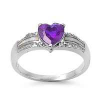 White Lab Opal Inlay Purple Amethyst Heart CZ Ring in Sterling Silver