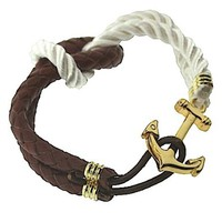 Nautical Stainless Steel Anchor (Gold Tone) Clasp Brown Leather and White Cotton Knot Woven Bracelet